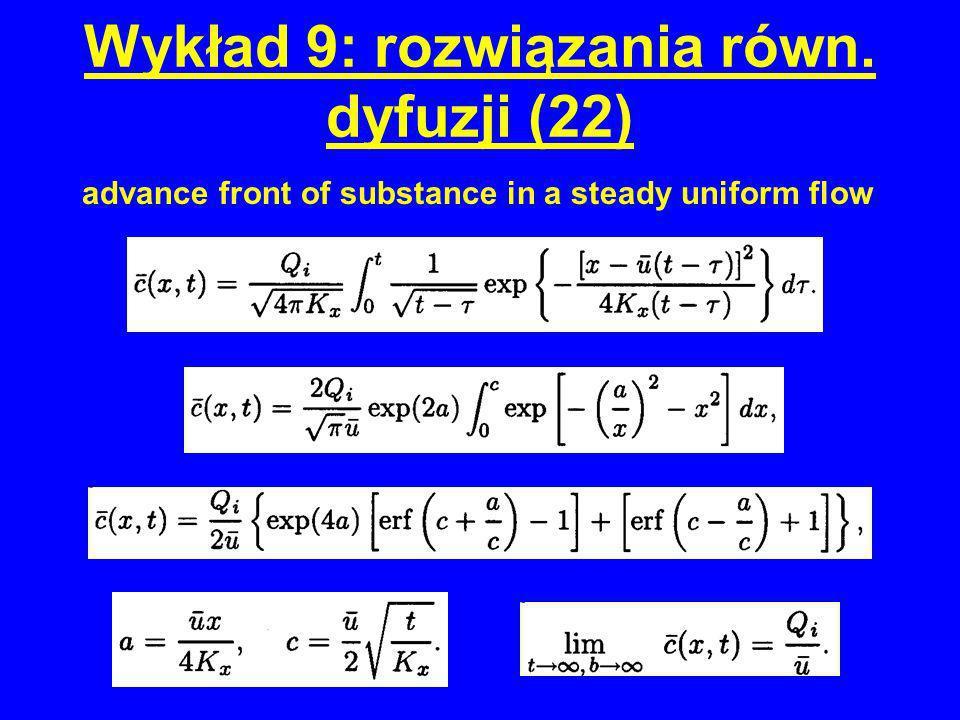 Wykład 9: rozwiązania równ. dyfuzji (22) advance front of substance in a steady uniform flow