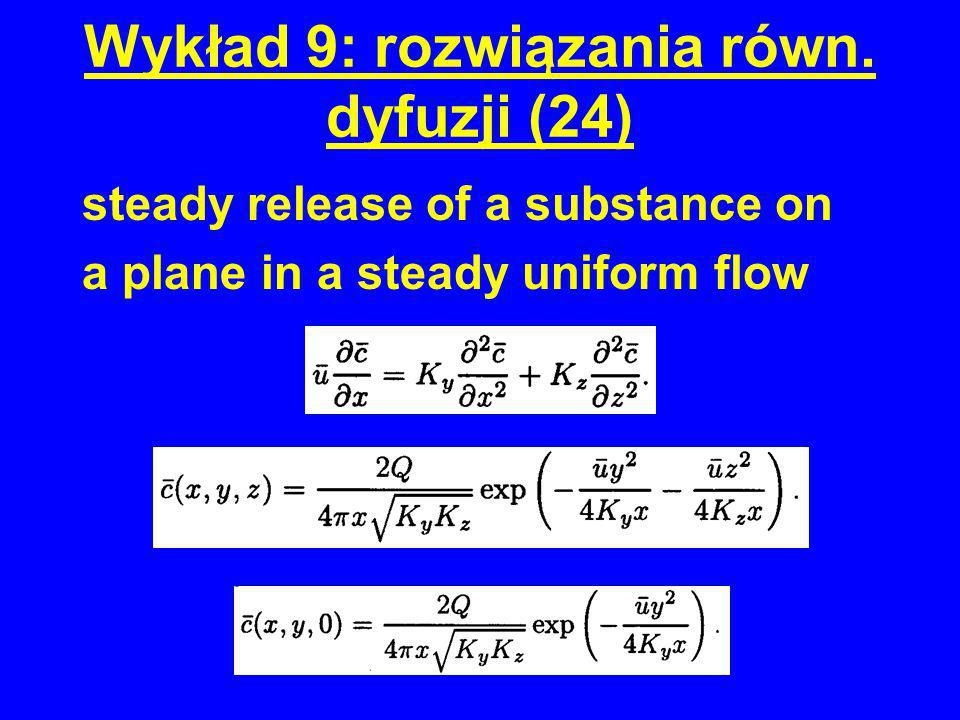 Wykład 9: rozwiązania równ. dyfuzji (24) steady release of a substance on a plane in a steady uniform flow