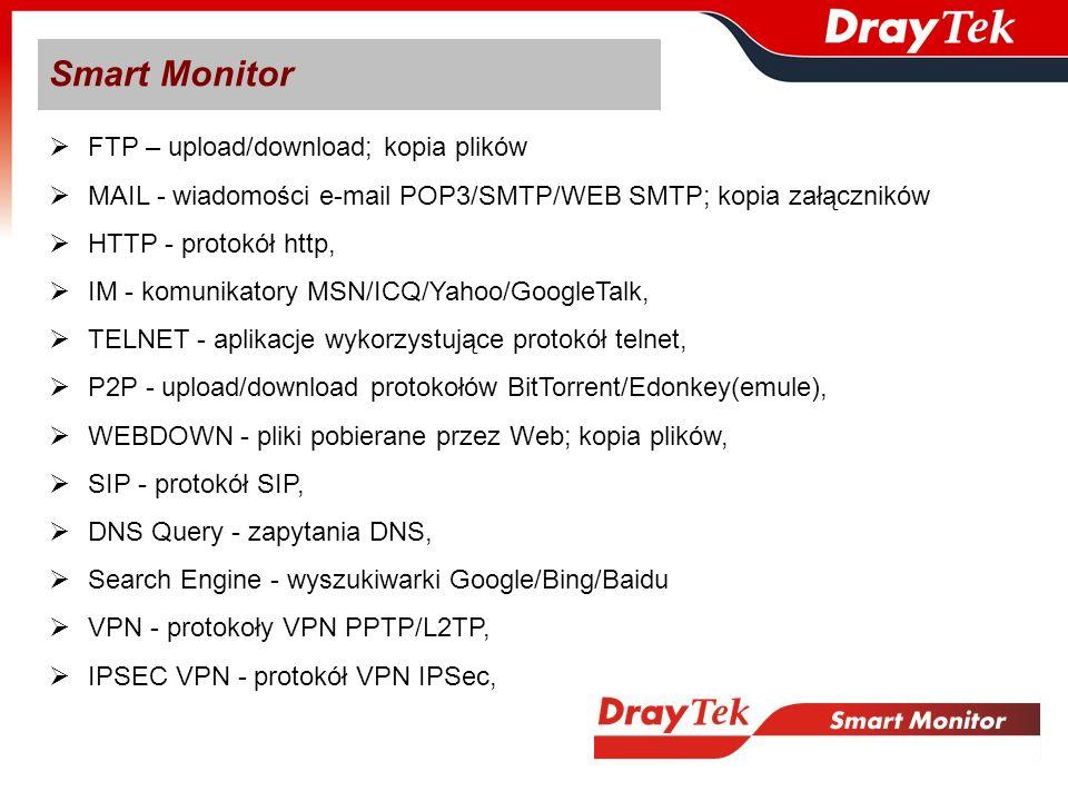 FTP – upload/download; kopia plików MAIL - wiadomości e-mail POP3/SMTP/WEB SMTP; kopia załączników HTTP - protokół http, IM - komunikatory MSN/ICQ/Yah