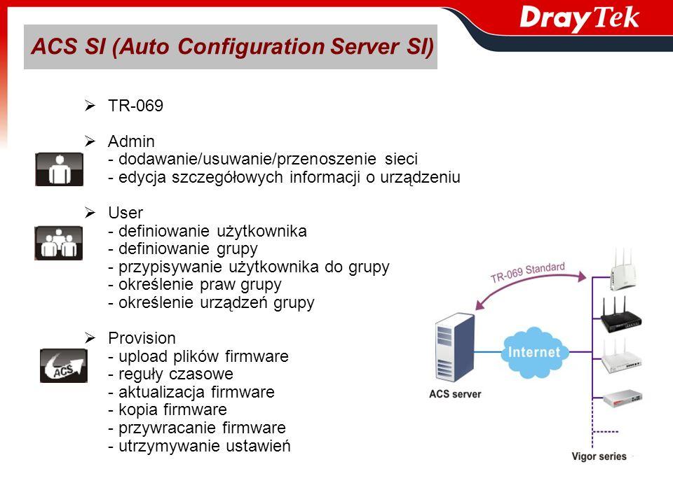 ACS SI (Auto Configuration Server SI) TR-069 Admin - dodawanie/usuwanie/przenoszenie sieci - edycja szczegółowych informacji o urządzeniu User - defin