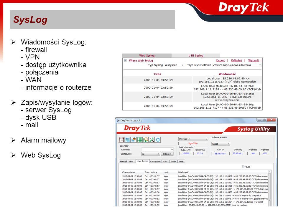 Wiadomości SysLog: - firewall - VPN - dostęp użytkownika - połączenia - WAN - informacje o routerze Zapis/wysyłanie logów: - serwer SysLog - dysk USB