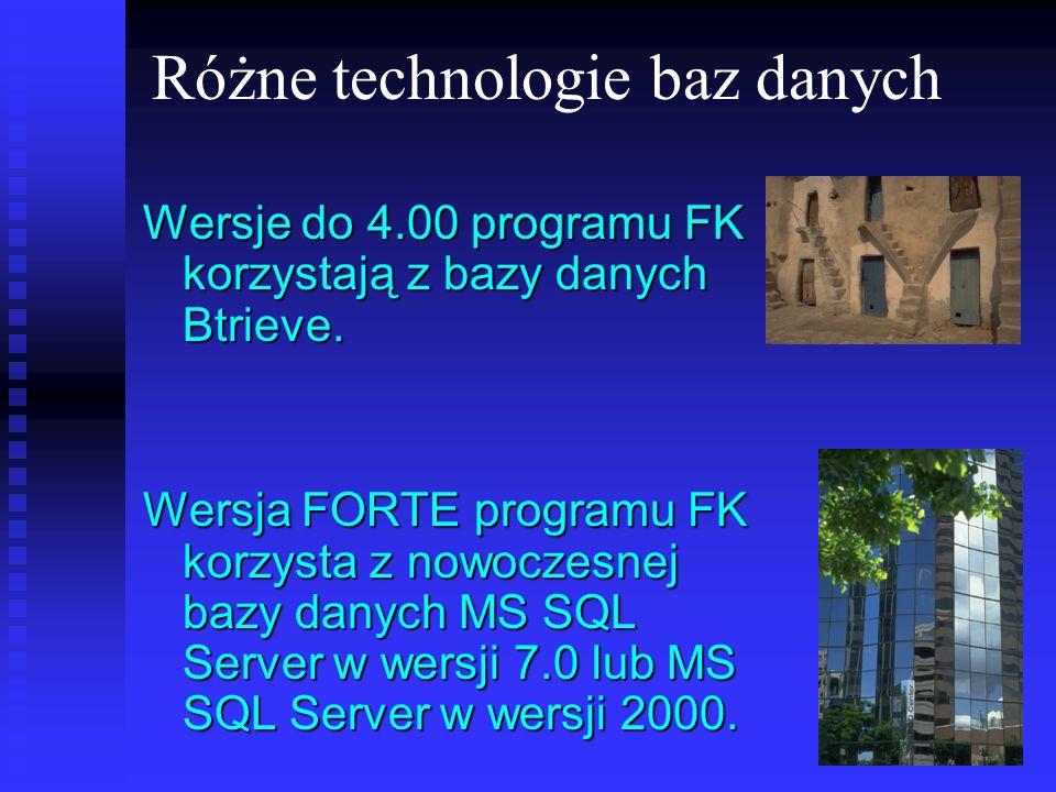 Różne technologie baz danych Wersje do 4.00 programu FK korzystają z bazy danych Btrieve. Wersja FORTE programu FK korzysta z nowoczesnej bazy danych