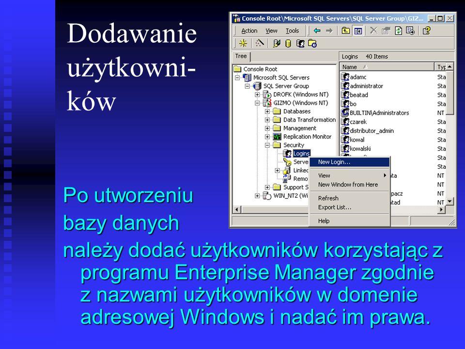 Dodawanie użytkowni- ków Po utworzeniu bazy danych należy dodać użytkowników korzystając z programu Enterprise Manager zgodnie z nazwami użytkowników