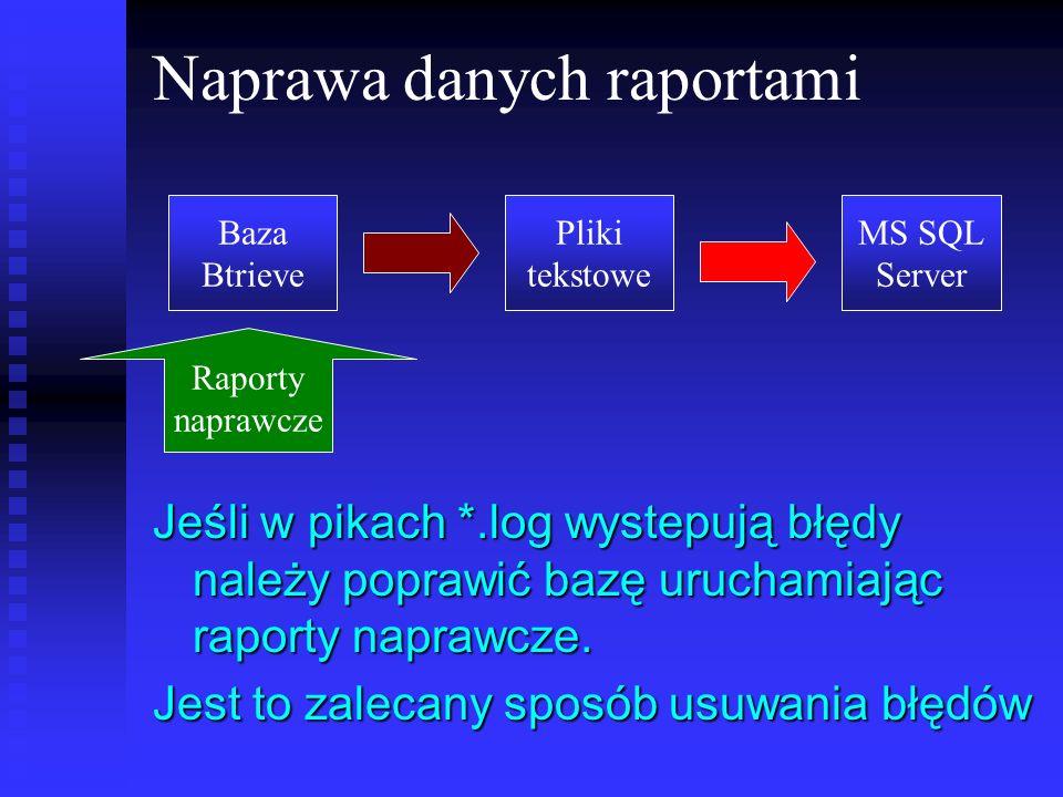 Naprawa danych raportami Jeśli w pikach *.log wystepują błędy należy poprawić bazę uruchamiając raporty naprawcze. Jest to zalecany sposób usuwania bł