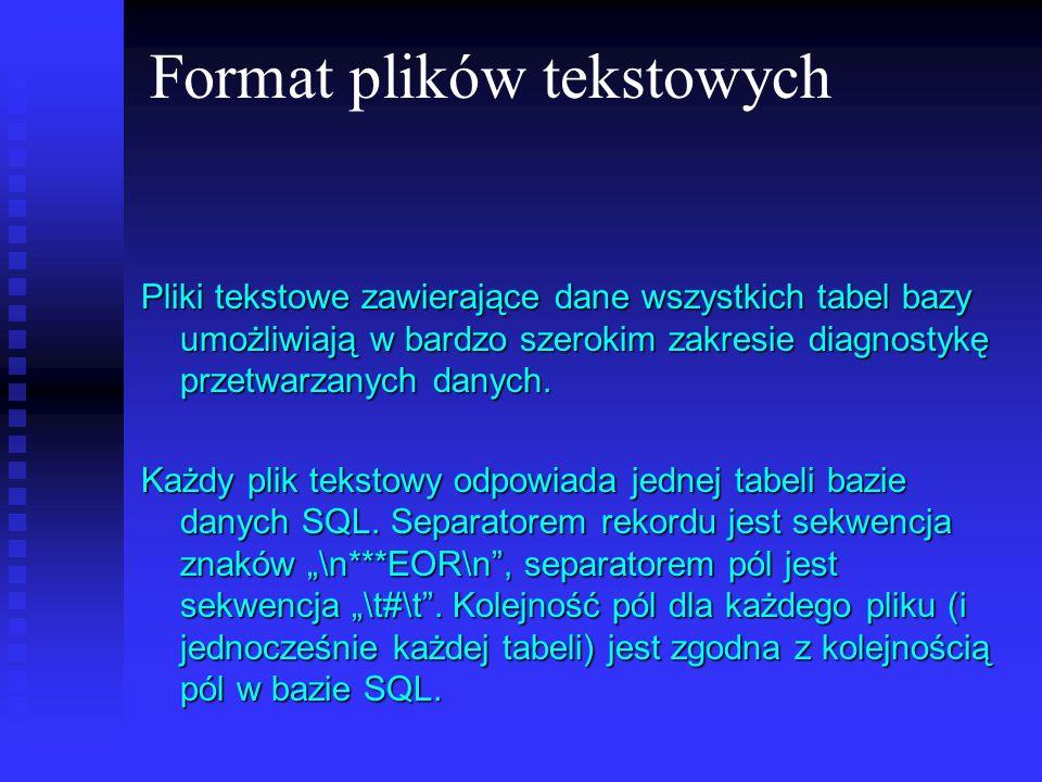 Format plików tekstowych Pliki tekstowe zawierające dane wszystkich tabel bazy umożliwiają w bardzo szerokim zakresie diagnostykę przetwarzanych danyc
