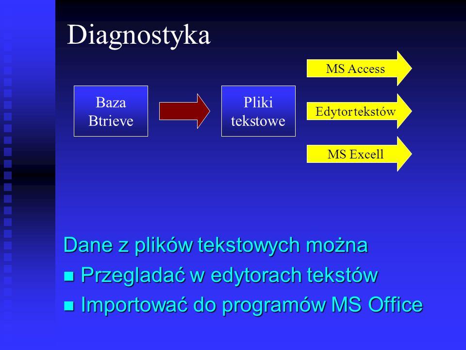 Diagnostyka Dane z plików tekstowych można Przegladać w edytorach tekstów Przegladać w edytorach tekstów Importować do programów MS Office Importować