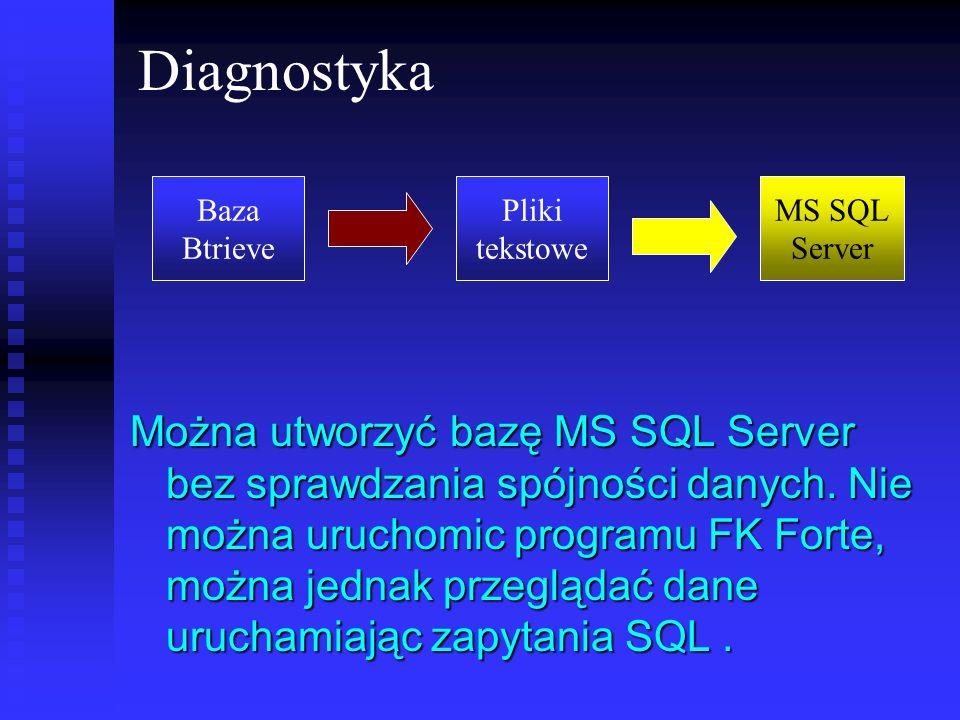 Diagnostyka Można utworzyć bazę MS SQL Server bez sprawdzania spójności danych. Nie można uruchomic programu FK Forte, można jednak przeglądać dane ur