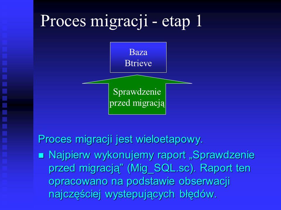 Proces migracji - etap 1 Proces migracji jest wieloetapowy. Najpierw wykonujemy raport Sprawdzenie przed migracją (Mig_SQL.sc). Raport ten opracowano
