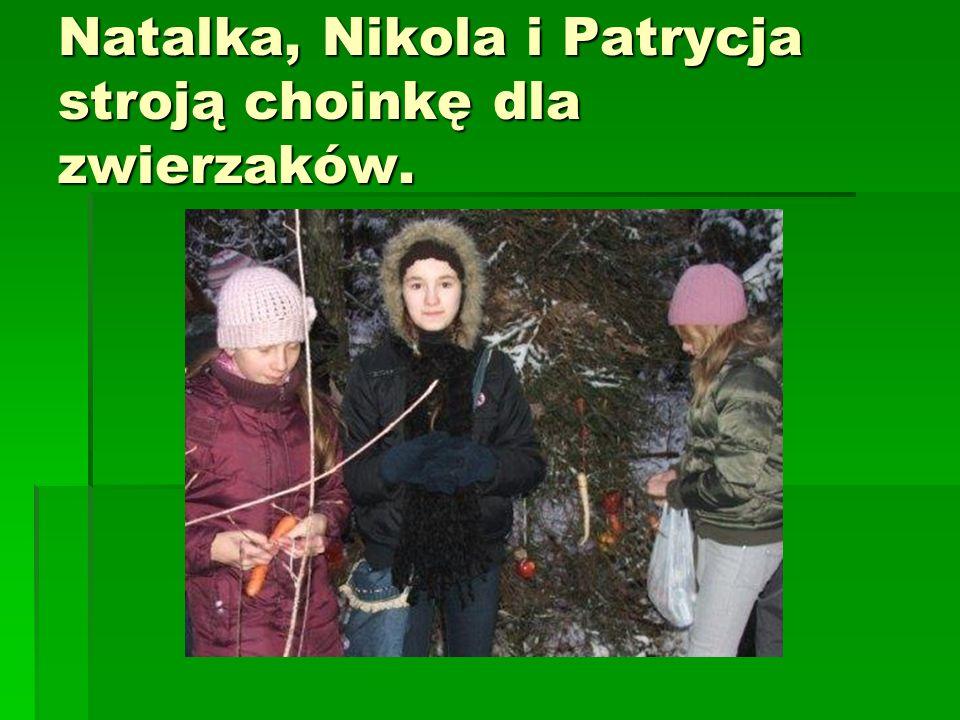 Martynka i Sandra wieszają przysmaki dla leśnych zwierząt. Będzie prawdziwa choinka w lesie.