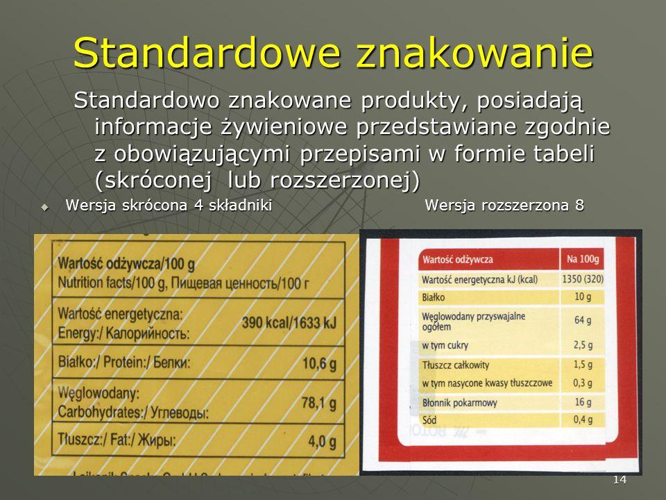 14 Standardowe znakowanie Standardowo znakowane produkty, posiadają informacje żywieniowe przedstawiane zgodnie z obowiązującymi przepisami w formie t