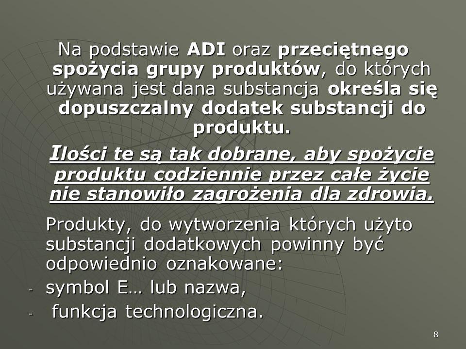 8 Na podstawie ADI oraz przeciętnego spożycia grupy produktów, do których używana jest dana substancja określa się dopuszczalny dodatek substancji do