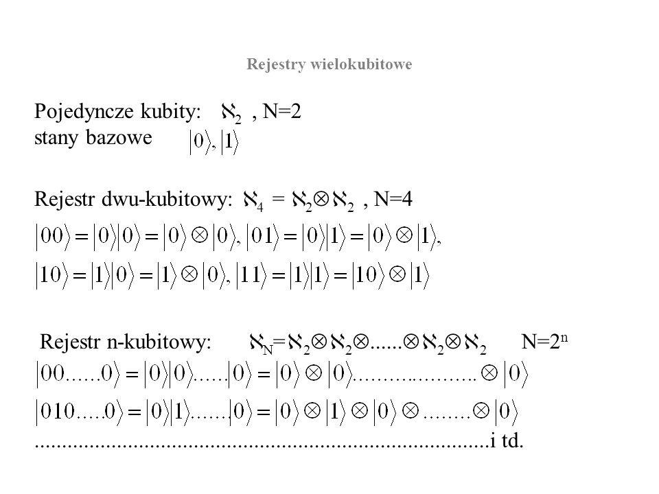 Rejestry wielokubitowe Pojedyncze kubity: 2, N=2 stany bazowe Rejestr n-kubitowy: N = 2 2...... 2 2 N=2 n Rejestr dwu-kubitowy: 4 = 2 2, N=4..........