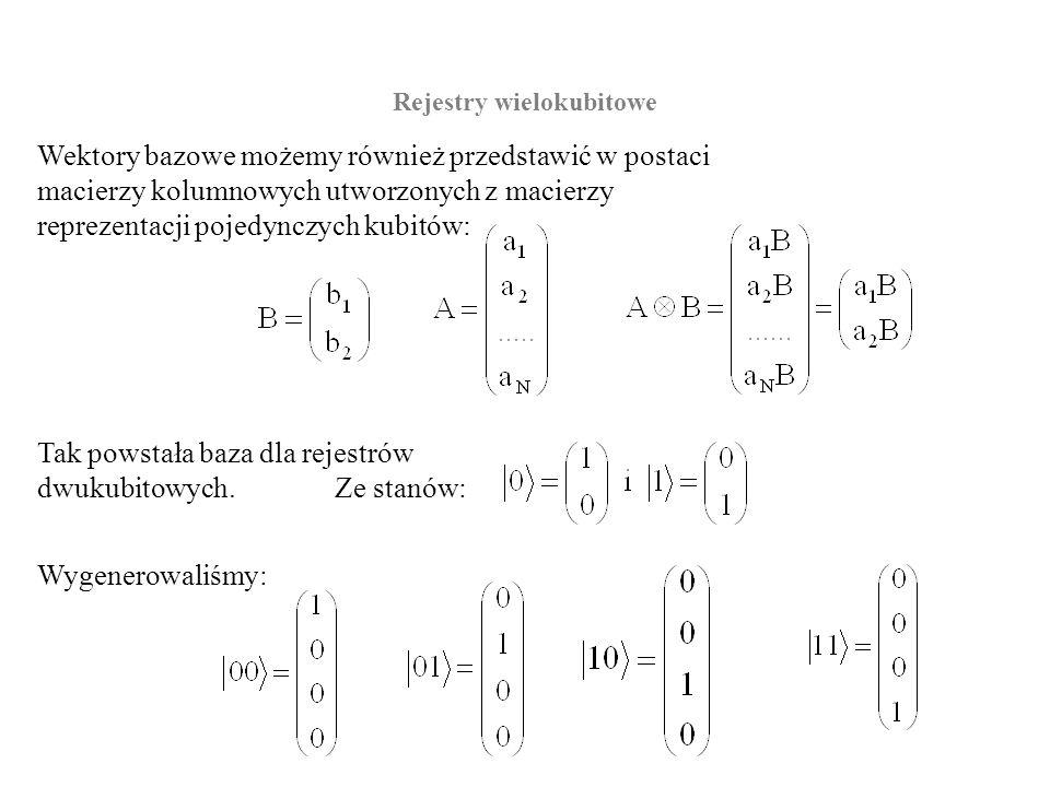Rejestry wielokubitowe Wektory bazowe możemy również przedstawić w postaci macierzy kolumnowych utworzonych z macierzy reprezentacji pojedynczych kubi