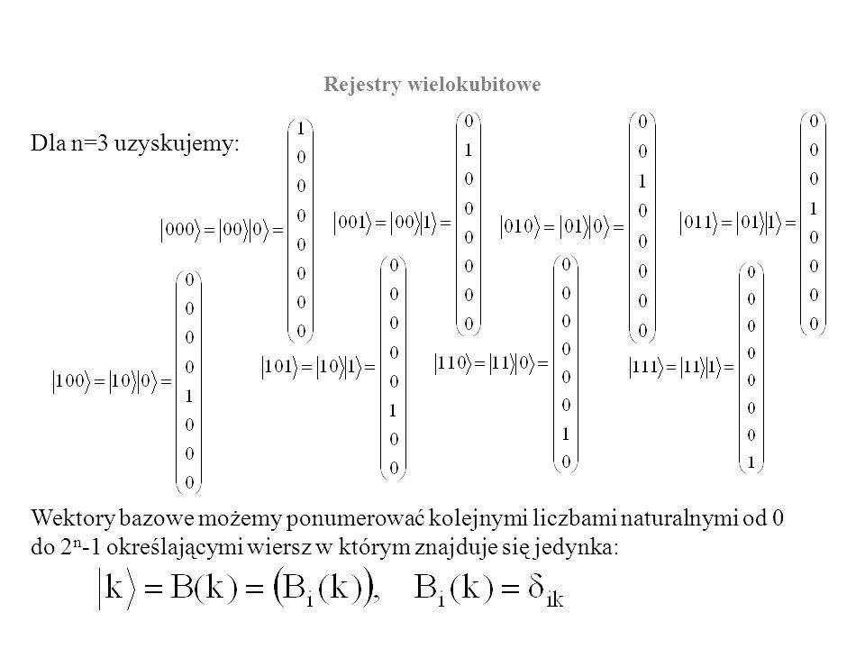 Dla n=3 uzyskujemy: Rejestry wielokubitowe Wektory bazowe możemy ponumerować kolejnymi liczbami naturalnymi od 0 do 2 n -1 określającymi wiersz w któr