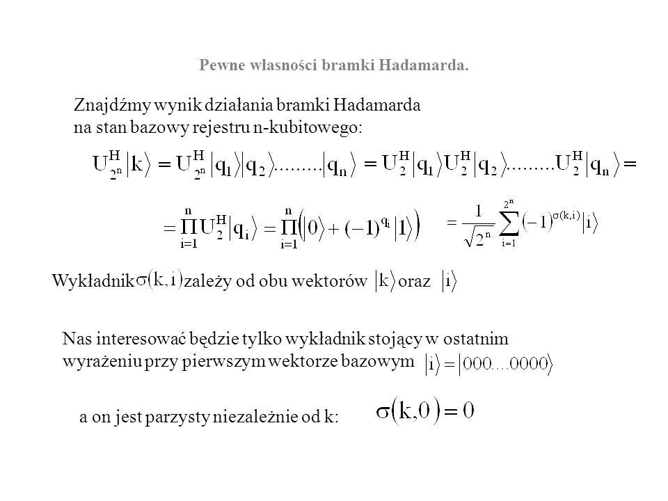 Pewne własności bramki Hadamarda. Znajdźmy wynik działania bramki Hadamarda na stan bazowy rejestru n-kubitowego: Pamiętamy, że dwukubitowa bramka Had