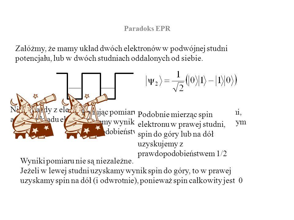 Paradoks EPR Możemy zatem wykonać pomiar w studni lewej a następnie w prawej w odległości czasowej mniejszej niż czas potrzebny na przebieg impulsu światła pomiędzy studniami (odległość pomiędzy studniami może być dowolnie duża).