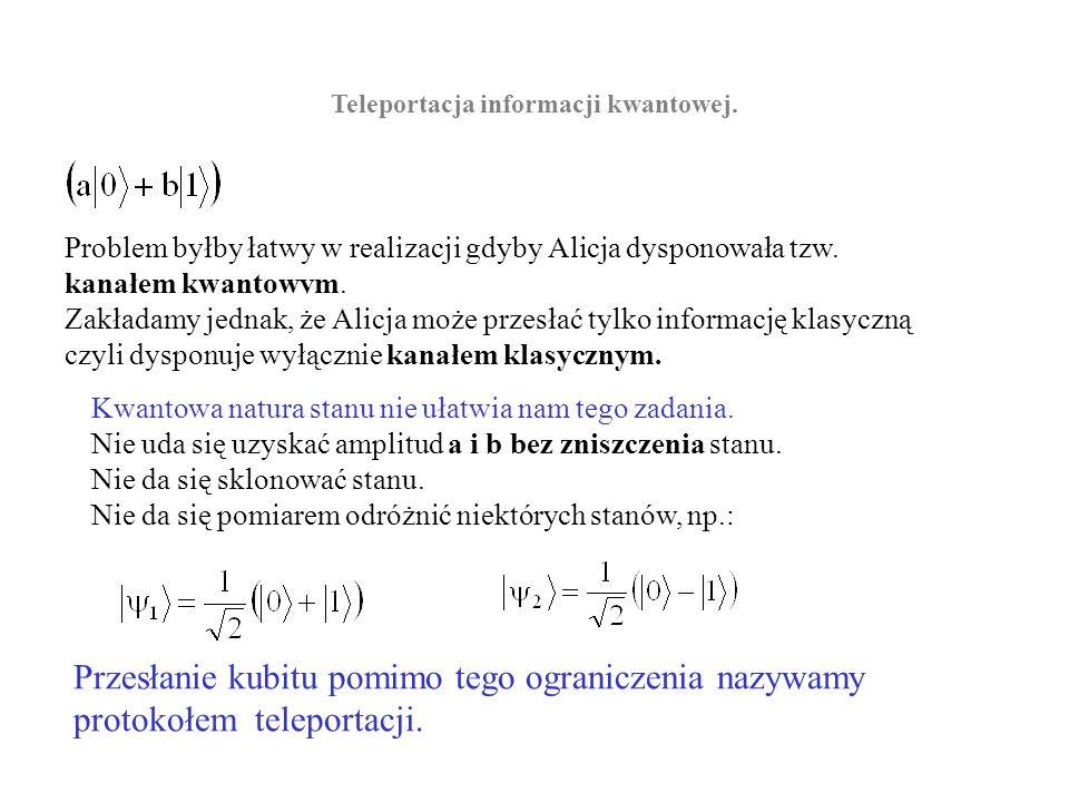 Problem Deutscha- Jozsa.Obliczenia prowadzimy na rejestrze kwantowym złożonym z n+1 kubitów.