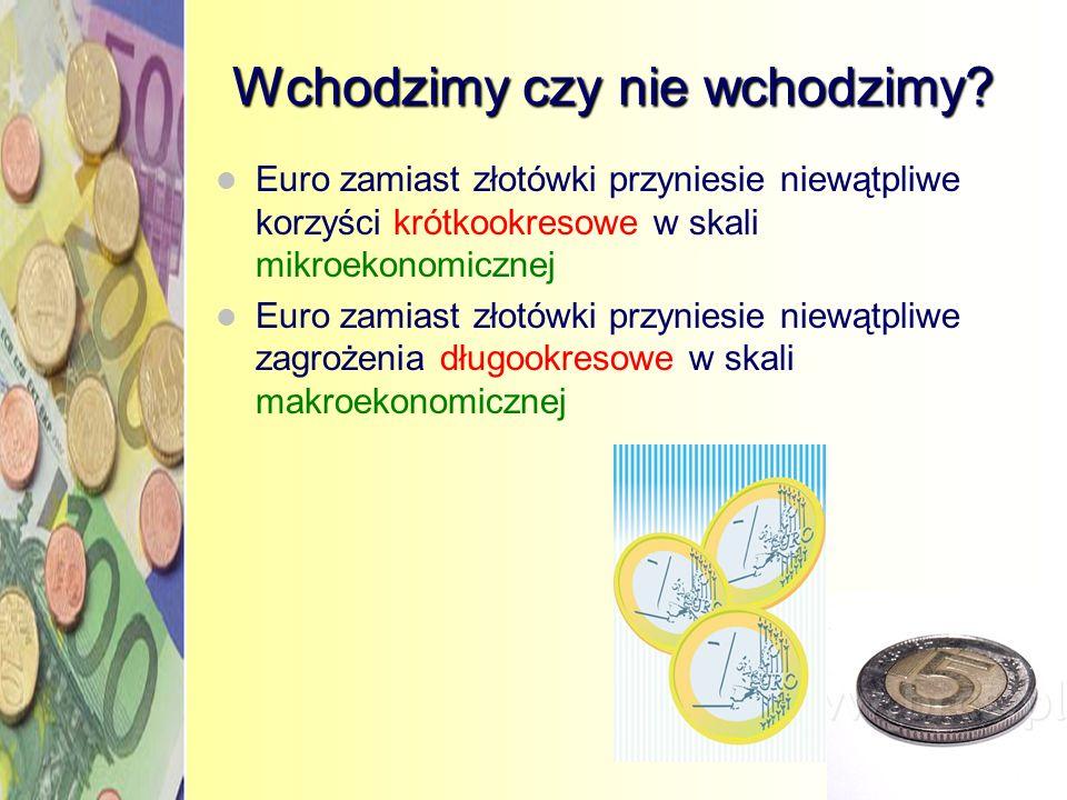 2009r - Polska w strefie bilans korzyści i strat Plusy: Niższe koszty transakcyjne w obrocie międzynarodowym Eliminacja ryzyka walutowego Wzrost zaufa