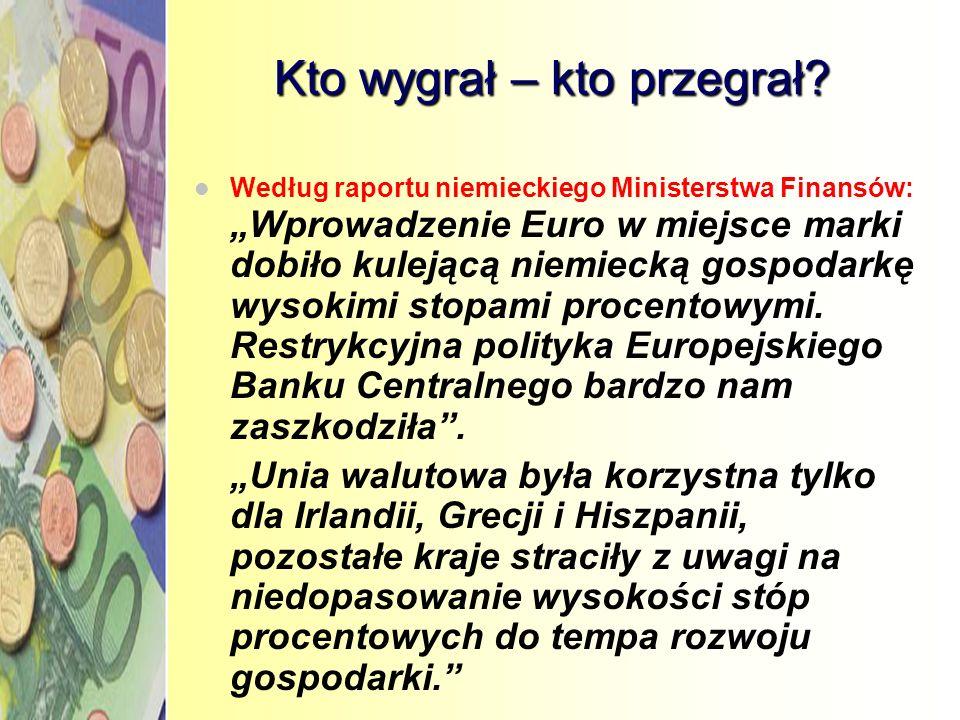 Głosy niezadowolenia Roberto Maroni2003 (włoski Minister Spraw Społecznych): Wprowadzenie Euro we Włoszech przyczyniło się do spowolnienia gospodarki