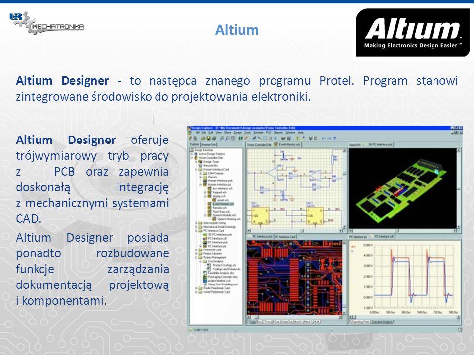 Altium Altium Designer - to następca znanego programu Protel. Program stanowi zintegrowane środowisko do projektowania elektroniki. Altium Designer of