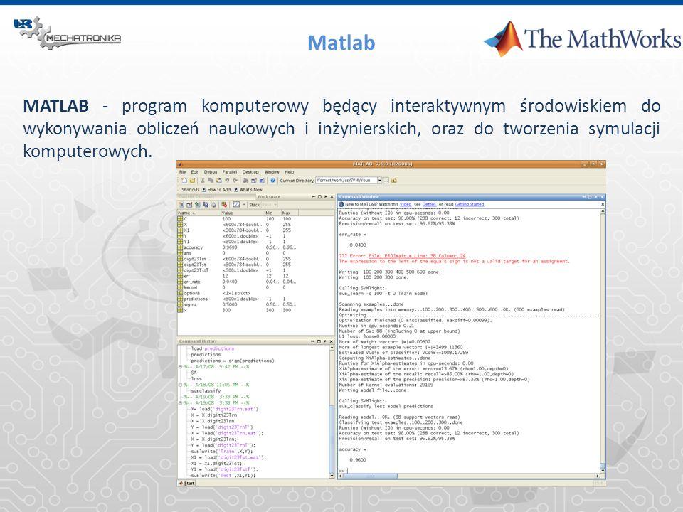 Matlab MATLAB - program komputerowy będący interaktywnym środowiskiem do wykonywania obliczeń naukowych i inżynierskich, oraz do tworzenia symulacji k