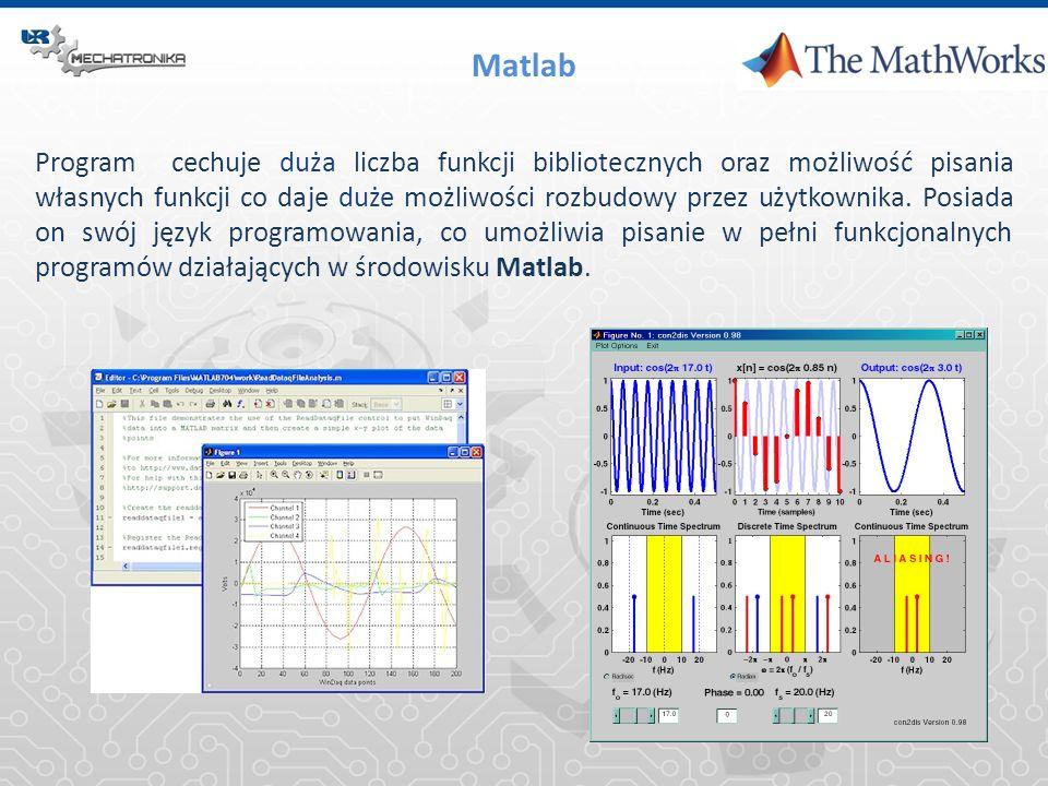 Matlab Program cechuje duża liczba funkcji bibliotecznych oraz możliwość pisania własnych funkcji co daje duże możliwości rozbudowy przez użytkownika.