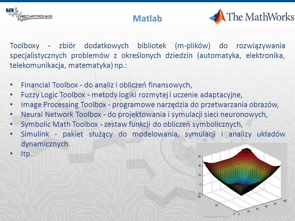 Matlab Toolboxy - zbiór dodatkowych bibliotek (m-plików) do rozwiązywania specjalistycznych problemów z określonych dziedzin (automatyka, elektronika,