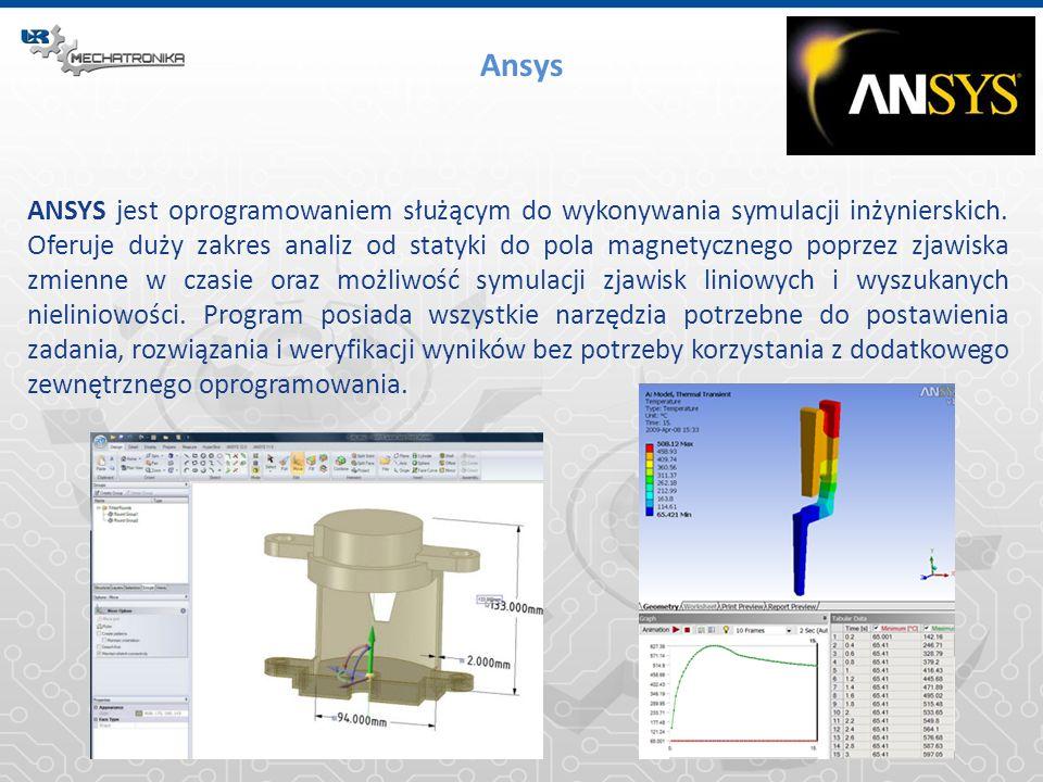 Ansys ANSYS jest oprogramowaniem służącym do wykonywania symulacji inżynierskich. Oferuje duży zakres analiz od statyki do pola magnetycznego poprzez