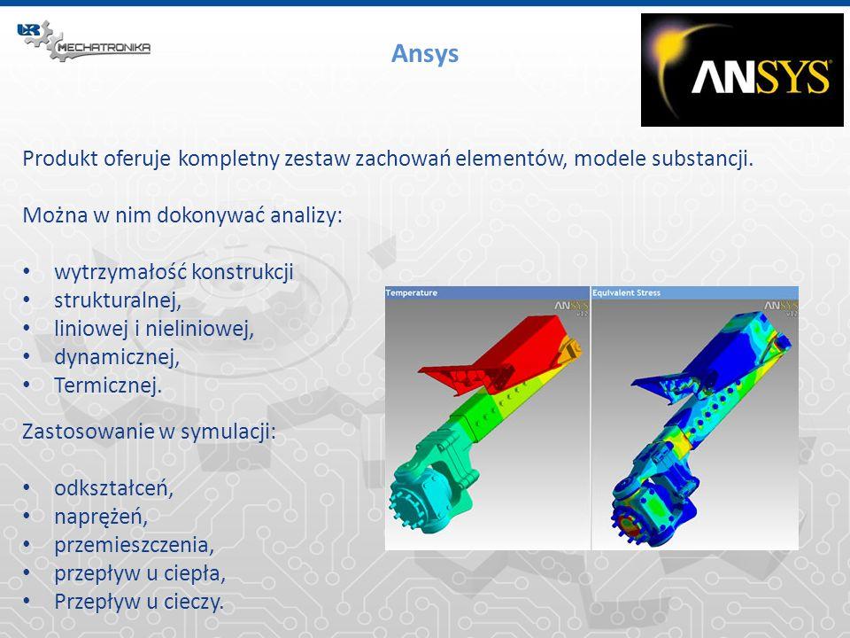 Ansys Produkt oferuje kompletny zestaw zachowań elementów, modele substancji. Można w nim dokonywać analizy: wytrzymałość konstrukcji strukturalnej, l