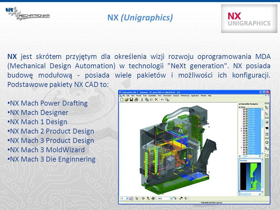 NX (Unigraphics) NX jest skrótem przyjętym dla określenia wizji rozwoju oprogramowania MDA (Mechanical Design Automation) w technologii