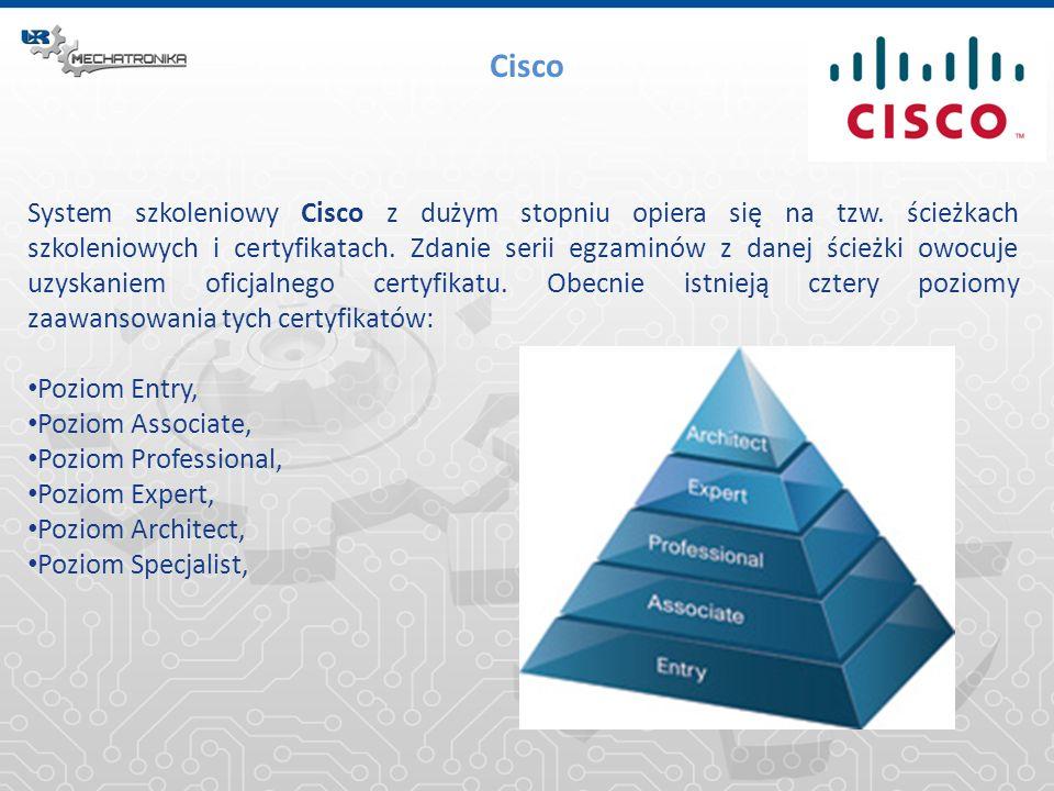 Cisco System szkoleniowy Cisco z dużym stopniu opiera się na tzw. ścieżkach szkoleniowych i certyfikatach. Zdanie serii egzaminów z danej ścieżki owoc