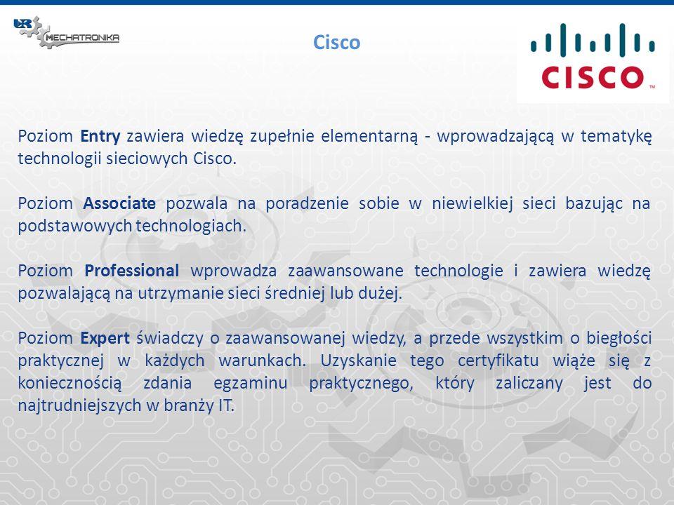 Poziom Entry zawiera wiedzę zupełnie elementarną - wprowadzającą w tematykę technologii sieciowych Cisco. Poziom Associate pozwala na poradzenie sobie