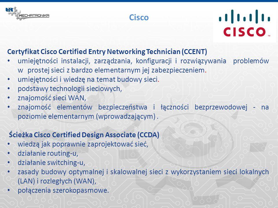 Cisco Certyfikat Cisco Certified Entry Networking Technician (CCENT) umiejętności instalacji, zarządzania, konfiguracji i rozwiązywania problemów w pr