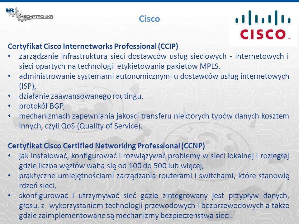 Cisco Certyfikat Cisco Internetworks Professional (CCIP) zarządzanie infrastrukturą sieci dostawców usług sieciowych - internetowych i sieci opartych