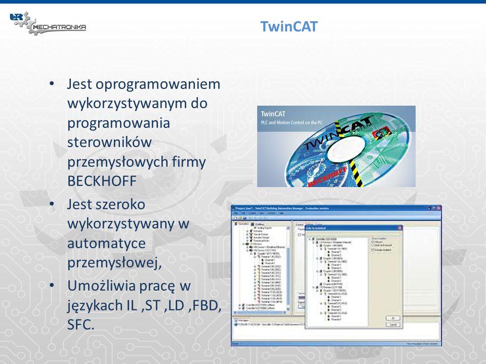 TwinCAT Jest oprogramowaniem wykorzystywanym do programowania sterowników przemysłowych firmy BECKHOFF Jest szeroko wykorzystywany w automatyce przemy