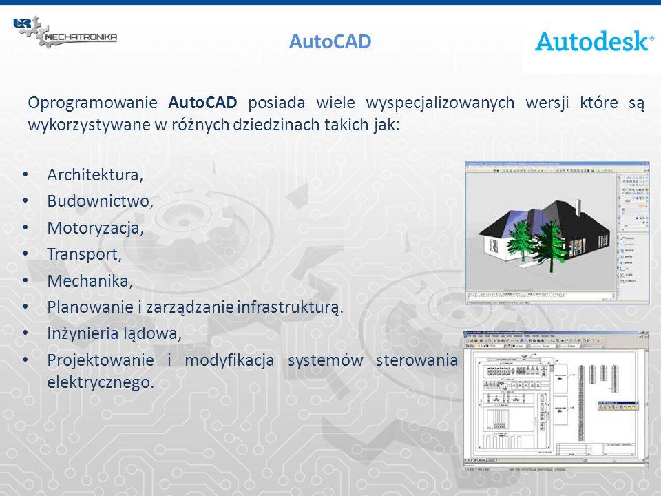 Oprogramowanie AutoCAD posiada wiele wyspecjalizowanych wersji które są wykorzystywane w różnych dziedzinach takich jak: AutoCAD Architektura, Budowni