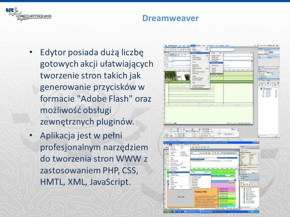 Dreamweaver Edytor posiada dużą liczbę gotowych akcji ułatwiających tworzenie stron takich jak generowanie przycisków w formacie