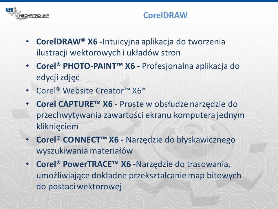 CorelDRAW CorelDRAW® X6 -Intuicyjna aplikacja do tworzenia ilustracji wektorowych i układów stron Corel® PHOTO-PAINT X6 - Profesjonalna aplikacja do e
