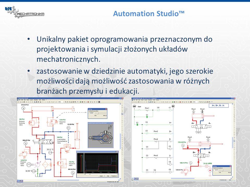 Automation Studio Unikalny pakiet oprogramowania przeznaczonym do projektowania i symulacji złożonych układów mechatronicznych. zastosowanie w dziedzi