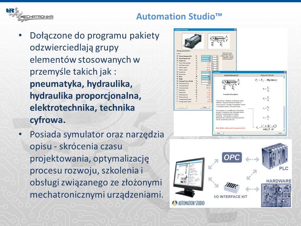 Automation Studio Dołączone do programu pakiety odzwierciedlają grupy elementów stosowanych w przemyśle takich jak : pneumatyka, hydraulika, hydraulik