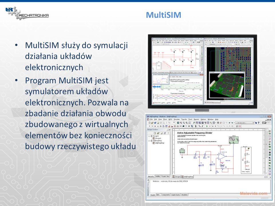 MultiSIM MultiSIM służy do symulacji działania układów elektronicznych Program MultiSIM jest symulatorem układów elektronicznych. Pozwala na zbadanie
