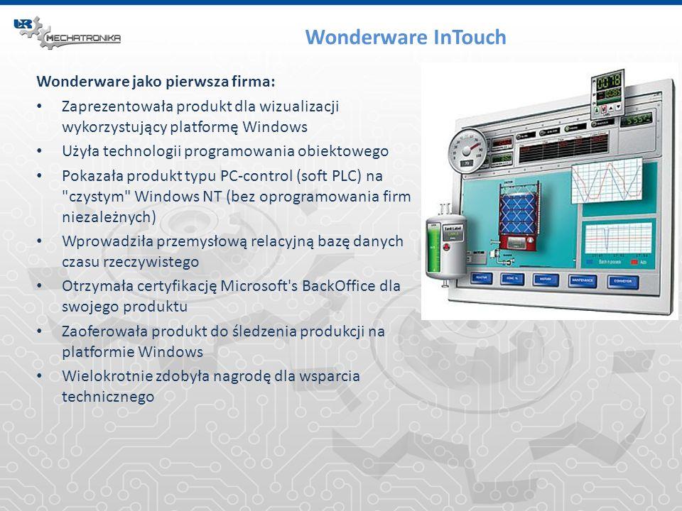 Wonderware InTouch Wonderware jako pierwsza firma: Zaprezentowała produkt dla wizualizacji wykorzystujący platformę Windows Użyła technologii programo