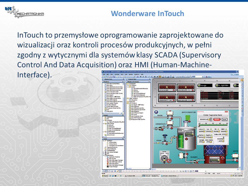 Wonderware InTouch InTouch to przemysłowe oprogramowanie zaprojektowane do wizualizacji oraz kontroli procesów produkcyjnych, w pełni zgodny z wytyczn