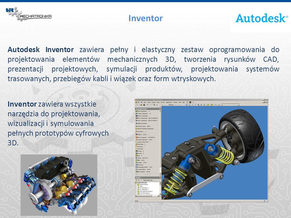 Inventor Program Inventor rozszerza możliwości projektowania 3D o cyfrowe prototypowanie, pozwala na integrację rysunków 2D AutoCAD® oraz danych 3D w ramach pojedynczego modelu cyfrowego.