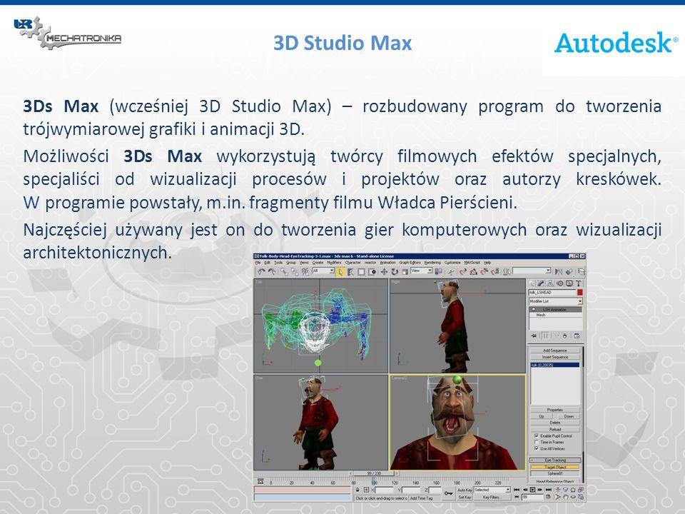 3D Studio Max 3Ds Max (wcześniej 3D Studio Max) – rozbudowany program do tworzenia trójwymiarowej grafiki i animacji 3D. Możliwości 3Ds Max wykorzystu