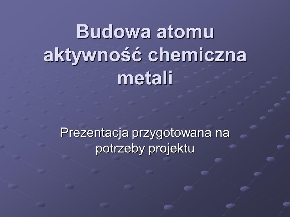 Budowa atomu aktywność chemiczna metali Prezentacja przygotowana na potrzeby projektu