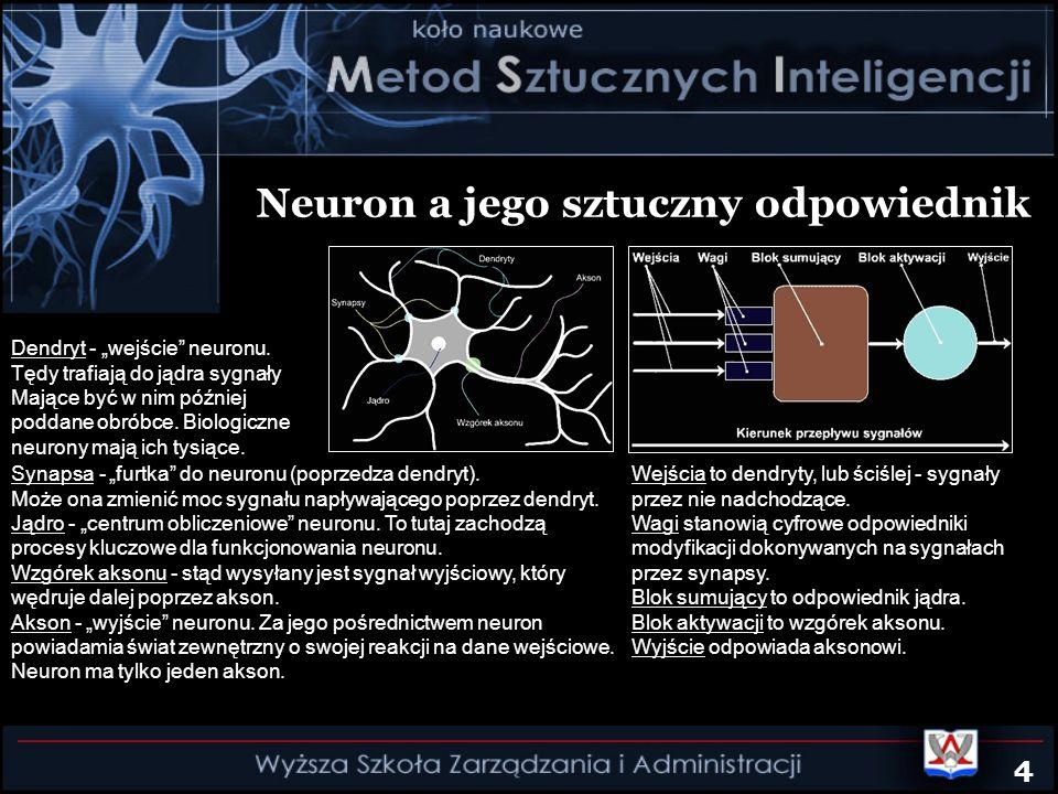 Neuron a jego sztuczny odpowiednik Synapsa - furtka do neuronu (poprzedza dendryt). Może ona zmienić moc sygnału napływającego poprzez dendryt. Jądro