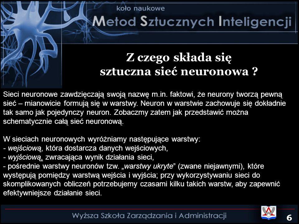 Z czego składa się sztuczna sieć neuronowa ? Sieci neuronowe zawdzięczają swoją nazwę m.in. faktowi, że neurony tworzą pewną sieć – mianowicie formują