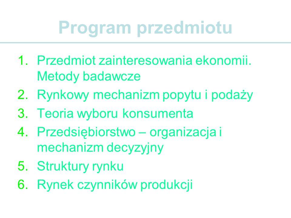 Program przedmiotu 1.Przedmiot zainteresowania ekonomii. Metody badawcze 2.Rynkowy mechanizm popytu i podaży 3.Teoria wyboru konsumenta 4.Przedsiębior