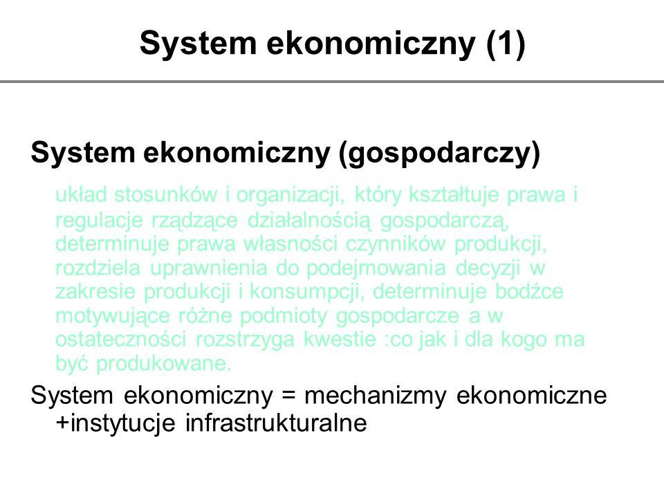 System ekonomiczny (1) System ekonomiczny (gospodarczy) układ stosunków i organizacji, który kształtuje prawa i regulacje rządzące działalnością gospo